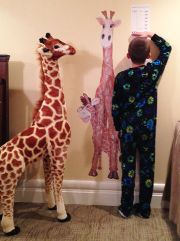 "Gerome the Giraffe - 25"" X 55"" Growth Chart Decal, and Melissa & Doug Plush"