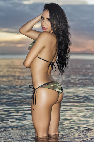 Chica Rica GI Jane scalloped Camo tie side scrunch bottom