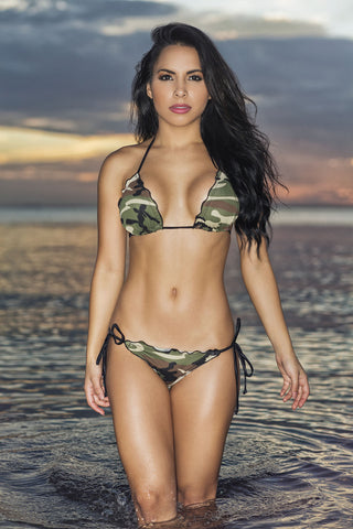 Chica Rica GI Jane scalloped Camo triangle top