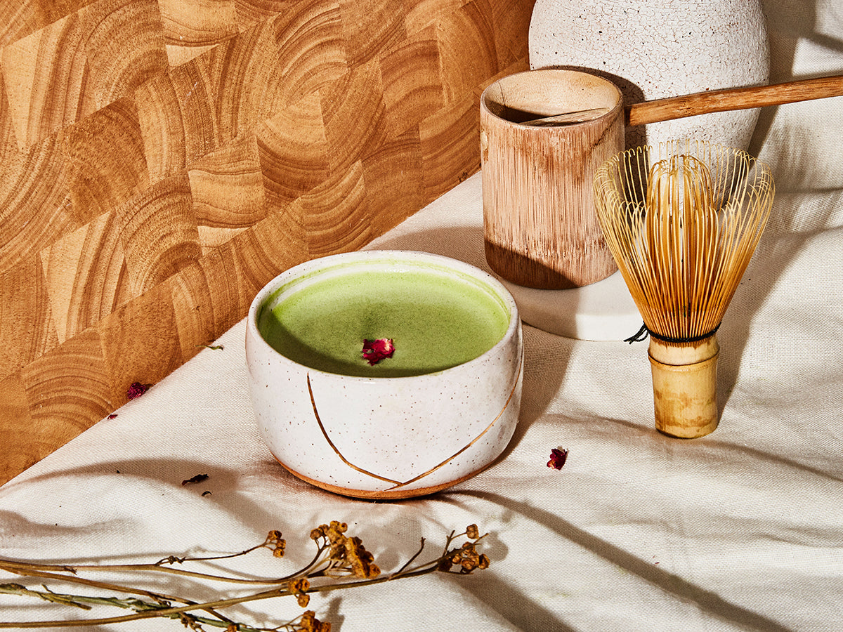 Objects for matcha rituals, including a chawan, whisk, and scoop