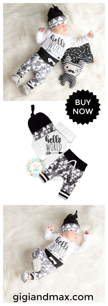 Gigi and Max Hello World newborn coming home outfit! This is so cute!