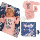"Swaddle Slate Blue and Pink Floral -  34"" X 34"""