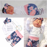 Blue floral and Pink Hello World Newborn Outfit - Gigi and Max