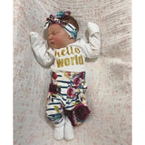 Fall Floral Hello World Newborn Outfit - Gigi and Max