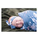 "Swaddle Heathered Slate Blue and Pink Floral -  47"" X 47"" - Gigi and Max"
