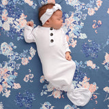 White Snow Knotted Button Gown - NB-3m - Gigi and Max