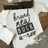Brand New Buck a-roo Newborn Outfit Gray and Camo
