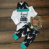 Brand New Buck a-roo Newborn Outfit Navy and Teal