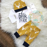 Buck Mustard and Navy Oh Deer I'm Here Newborn Outfit