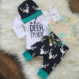 Buck Navy Oh Deer I'm Here Newborn Outfit