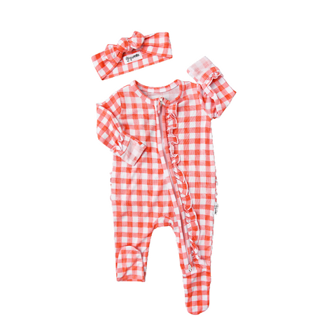Harlow Peach Gingham Newborn Footed Ruffle Zip - Gigi and Max