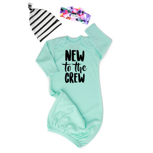 Mint New to the Crew gown stripe Gender Neutral
