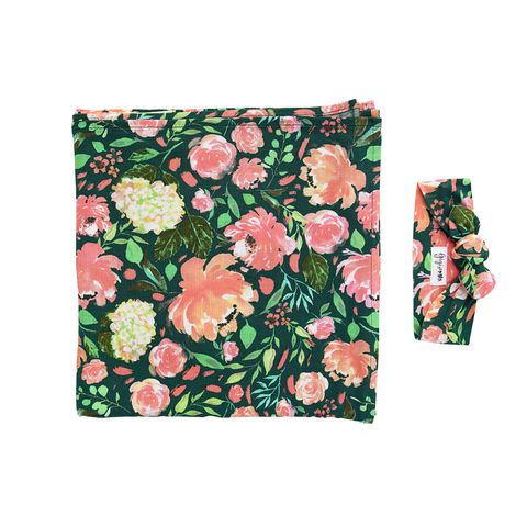 Jolie Floral Swaddle Blanket - Gigi and Max