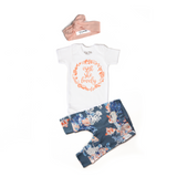 Isn't She Lovely Heathered Slate Floral Newborn Outfit - Gigi and Max