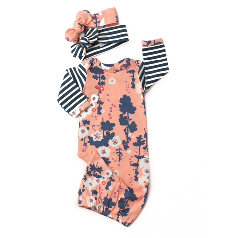 Pink and Navy floral handmade gown (free bonus headband when you purchase gown and headband) - Gigi and Max