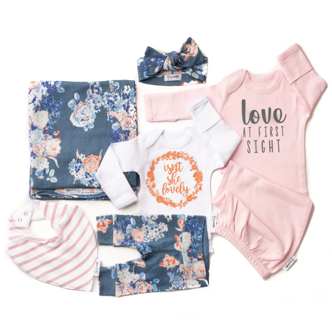 Ultimate baby girl Newborn going home outfit bundle (Slate Floral) - Gigi and Max
