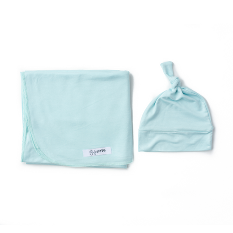 Theo Baby Blue Lightweight Swaddle blanket - Gigi and Max