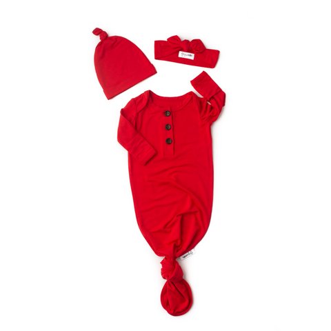 Christmas Red Knotted Button Gown - Gigi and Max