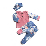 3 Piece Button Newborn Outfit - mauve with slate floral - Gigi and Max