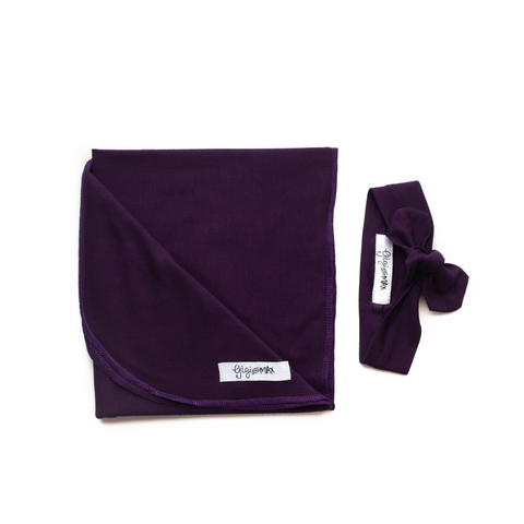 Plum Purple Lightweight Swaddle blanket - Gigi and Max