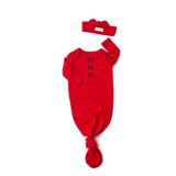Valentine Red Knotted Button Gown - Gigi and Max