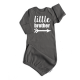 Little Brother Gown - white on gray - Gigi and Max