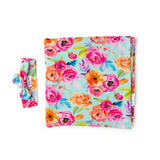 Tessa Teal Floral Swaddle blanket - Gigi and Max