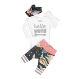 Pink and Blue floral Hello World Newborn Outfit - Gigi and Max
