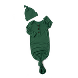 Hunter Green Knotted Button Gown - Gigi and Max