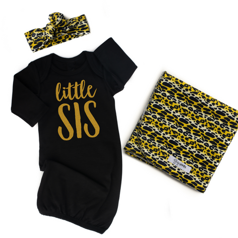 Little Sis Gold Shimmer and Leopard swaddle set (3 pieces) - Gigi and Max