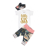 Little Sis newborn outfit Blue and Pink Floral - Gigi and Max