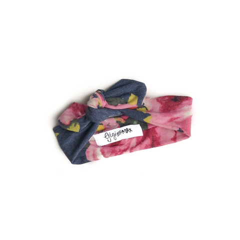 Hannah Navy Pink Floral headband - Gigi and Max