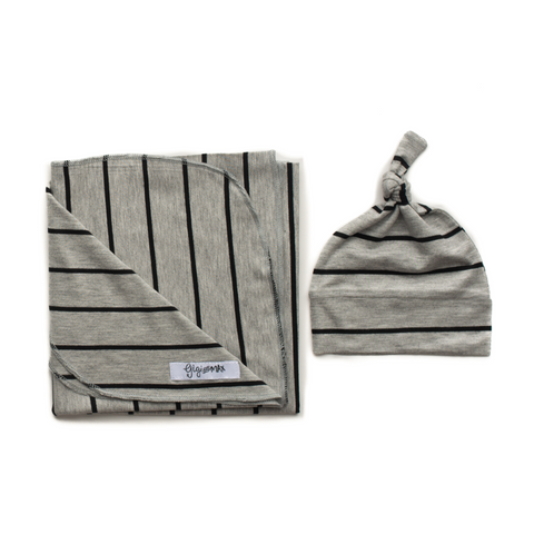 Gray with Black stripe Lightweight Swaddle blanket - Gigi and Max