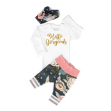 Pink and Blue floral Hello Gorgeous Newborn Outfit - Gigi and Max