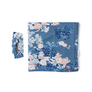 Swaddle Heathered Slate Blue and Pink Floral