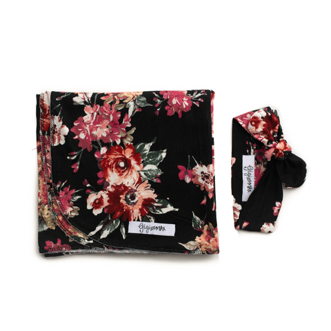 "Stella Floral Swaddle Lightweight blanket -  34"" X 34"" black floral - Gigi and Max"
