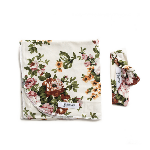 "Charlotte Floral Lightweight Swaddle blanket -  34"" X 34"" white floral - Gigi and Max"