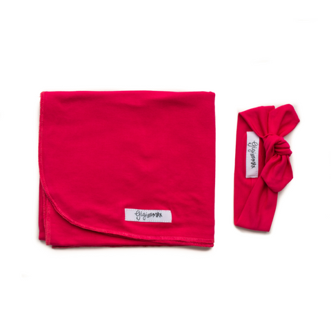 Penelope Raspberry Lightweight Swaddle blanket - Gigi and Max