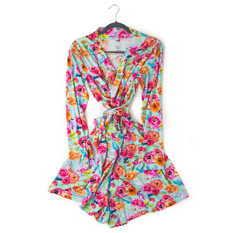 Tessa Teal Floral Mommy Robe - Gigi and Max