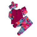 3 Piece Button Newborn Outfit - fuchsia with blue stripe floral ** please allow 2-3 weeks for processing **