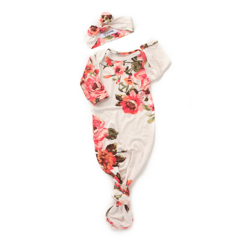 Ivy White and Coral Floral Knotted Button Gown -  NB-3m - Gigi and Max