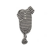 Noah Gray with Black stripe Knotted Button Gown -  NB-3m - Gigi and Max