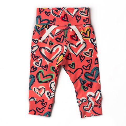 Valentine hot pink with hearts Jogger pants only - Gigi and Max