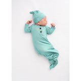 Finley Mint Knotted Button Gown - NB-3m - Gigi and Max