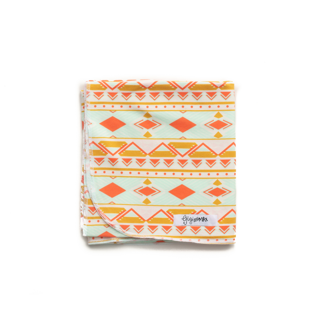 "Peach Mint Aztec Swaddle Blanket -  34"" X 34"" - Gigi and Max"