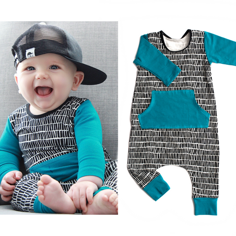 Black and White geo Teal Arm and pocket - Stretchy Neck Long Sleeve romper - Gigi and Max