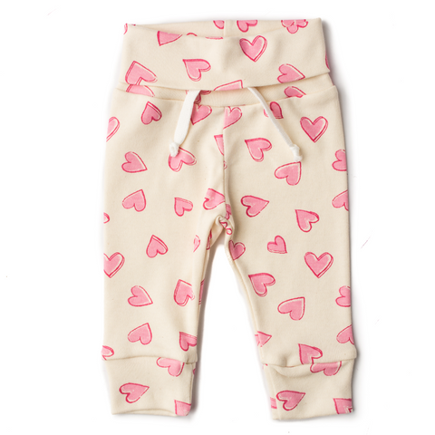 Valentine cream with pink hearts Jogger pants only - Gigi and Max