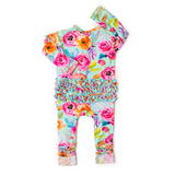 Tessa Teal Floral Ruffle Zip One Piece - Gigi and Max