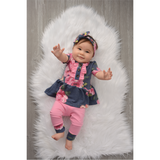 Hannah Ruffle Button Navy Pink Floral Peplum and Leggings Set Handmade (headband sold separately) - Gigi and Max