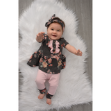 Sienna Ruffle Button Charcoal Pink Floral Peplum and Leggings Set Handmade (headband sold separately) - Gigi and Max